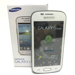 2019 téléphone intelligent déverrouillé Samsung GALAXY II Tendance Duos S7572 / 7562i Téléphone original 4,0 pouces Dual Core Android 4.1 GPS 3G Dual Sim déverrouillé les téléphones cellulaires