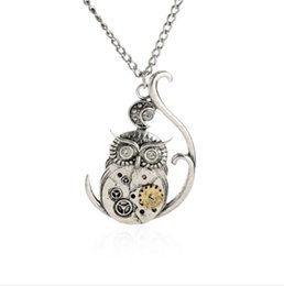 Wholesale Steampunk Owl Pendant - JLN Steampunk Owl Necklace Link Curb Chain Antique Silver Halloween Gothic Owl Moon Gear Necklace Gift For Man Woma