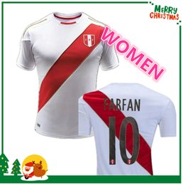 Wholesale National Team Soccer Uniforms - women 2018 national team 2018 World Cup Peru soccer Jersey 2018 2019 Peru home white kit uniforms soccer football shirt