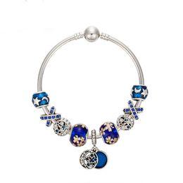 Wholesale fashon jewelry - Blue Glass Crystal Bead Handmade Bracelet Bohemia Silver star Charms Bracelets Bangles 2018 Fashon Jewelry