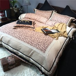 Wholesale leopard bedding sets king - 100% Sanded Cotton Pure cotton Thicken Gorgeous leopard-print 4pcs Bedding sets Duvet cover Flat sheet and Pillowcase Queen and king Two Siz
