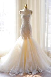 Vestido de sirena drapeado de tul online-Nuevo encaje drapeado 2019 Champagne Tulle Princess Mermaid Wedding Dresses Imagen real Modern Sweetheart Vestidos de novia largos Apliques por encargo