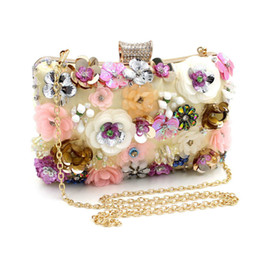Wholesale metal frames for purses - THREEPEAS Flower Women Evening Bags Metal Frame Ladies Day Clutches Chain Shoulder Hand Bags for Party Wedding Purse