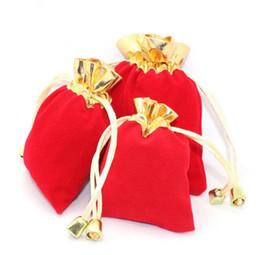JLN Buena Calidad Bolsa de Terciopelo Dos Colores Rojo y Oro Cordón Presente Cumpleaños Organizador de Bodas de Regalo Pulsera de Regalo Bolsa de Joyería desde fabricantes