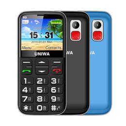 "Lanternas antigas on-line-Uniwa v808g teclado russo telefone móvel 3G sos 1400 mah 2.31 ""tela curvada telefones dual sim velho homem lanterna telefones celulares"