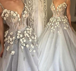 Wholesale Girls Floral Dress Size 12 - Gray Prom Dresses Bling Bling 2018 Formal Girls Pageant Gowns Princess Ball Gown With 3D Floral Spaghettu Straps Dubai Ball Gowns