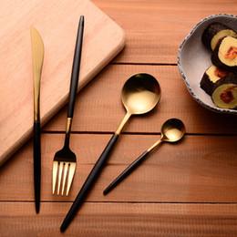 304 Stainless Steel Cutlery Gold Flatware Set Black Tableware Dinnerware 1 Dinner Knife + 1 Spoon + 1 Fork + One tea Spoon de