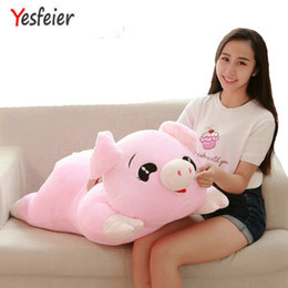 stuffed animal cushion Coupons - 45-100 CM cartoon pink pig pillow cushion cloth doll baby Cute Pig plush toys stuffed animals toys birthday for children