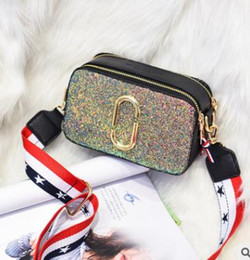 Wholesale Pink Paper Clips - 2018 Fashion camera bag handbag paper clip sequined color wide shoulder strap shoulder diagonal mini bag