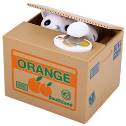 Wholesale Cartoon Sound Effects - Electric Steal Money Cartoon Automatic ATM Cat Stealing Money Coin Piggy Bank with Sound Effects Children Electric Toy Funny Saving Box +NB