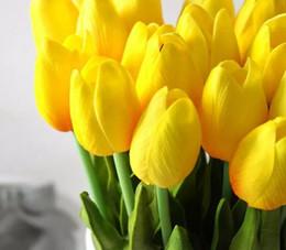 2019 ramalhete de casamento, tulipas artificiais Tulipa Flor Artificial PU Artificial buquê Real toque flores Para Casa Casamento decoratiom Suprimentos desconto ramalhete de casamento, tulipas artificiais