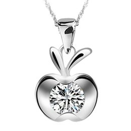 Wholesale Cute Silver Flats - whole sale1 PCS Cute Kawaii Women Lady Girls Silver Plated Clavicle Charm Small flat Apple Pendant NEW Christmas Jewelry 1.2*1.3cm NL-0932