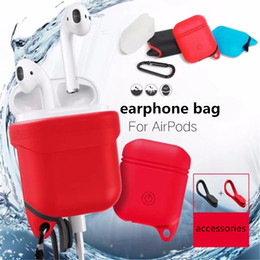 Wholesale Silicone Earphone Case - Soft Bag for Airpods Silicone Case Soft Cover Protector with Dust Plug Anti-Lost Strap Sleeve Pouch for Air pods Earphone + retail package