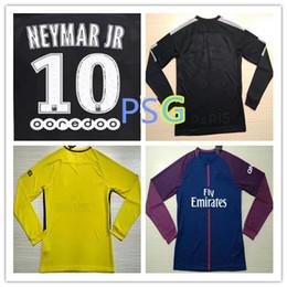 Wholesale Sports Full T Shirts - NEYMAR JR 17 18 MBAPPE Dani Alves long sleeves soccer jerseys AURIER T SILVA CAVANI DI MARIA PASTORE Verratti 2017 2018 sports shirt
