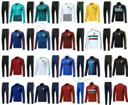 Wholesale white army jacket - 2018 Argentina Brazil Russia Colombia Mexico France Germany Spain Portugal Italy Netherlands Soccer Tracksuit Football Jacket Training Suit