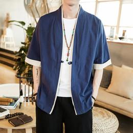 Cardigans en porcelaine en Ligne-2018 Hommes Coton Veste En Lin Chine Style Kongfu Manteau Mâle Lâche Kimono Cardigan Pardessus Manteau Ouvert Homme Coupe-Vent 5XL