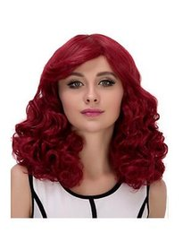Peluca rizada vino online-NUEVO Cosplay Wig * Parte lateral rizada * Accesorios de color rojo vino