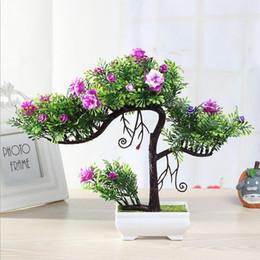 albero di fiori di bonsai Sconti Commercio all'ingrosso di New Fashion Albero Artificiale Fiore Bonsai Pentola di Plastica Saluto Piante Succulente Per Ufficio Tavolo Decorazione Domestica Giardino