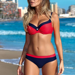 Wholesale sexy beachwear - Large Size Striped Patchwork Women Push up Swimsuits Bikini set Sexy Retro Swimwear Female Bandage Biquini Bather Beachwear