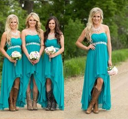 Wholesale Cheap Ruffle Dresses - Cheap Country Bridesmaid Dresses 2018 Teal Turquoise Chiffon Sweetheart High Low Long Peplum Wedding Guest Bridesmaids Maid Honor Gowns