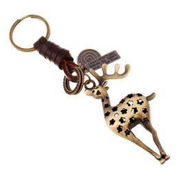 car skates Promo Codes - Key Chains for Men or Women Vintage Alloy Deer Robot Skate Pendant Leather Casual Personality Creative Jewelry Bag Car Chain