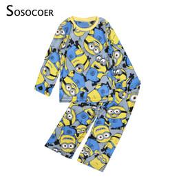 Wholesale Boy Pyjamas Cartoon - SOSOCOER Boys Pajamas Long Sleeve Cartoon Boy Pajamas Sleepwear New 2017 Autumn Winter Warm Kids Pyjamas For Boy Clothes Yellow