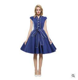 Elegante sexy vestidos de festa on-line-Hepburn Estilo Moda Feminina Verão Com Decote Em V Sexy Vestido De Festa Elegante Do Vintage 1940's Rockabilly Vestido De Noite