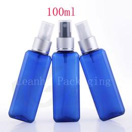 garrafas de plástico de plástico quadrado Desconto Atacado 100 ml X 50 quadrado azul luxo névoa spray frascos de perfume para embalagens de cosméticos, 100cc pulverizador de recipiente de plástico