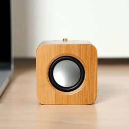 Wholesale wood buttons free shipping - Creative Fashion Portable Mini Bamboo Wood Bluetooth Speaker Wireless Stereo Subwoofer Music Box Free Shipping LX2643