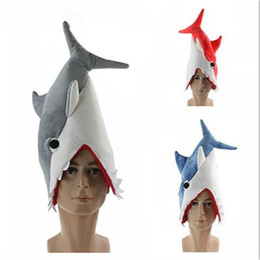 Wholesale kids pirate ships toys - New Shark Plush Hat Cap Soft Kids Cartoon Stuffed Toy Cosplay Hat Children Birthday Favors Party Christmas