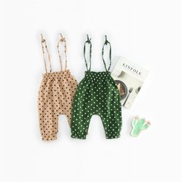 Wholesale european baby clothes - baby clothing European and American Style new baby girl 100% Cotton Polka Dots Print baby romper high quality suspender kids rompers