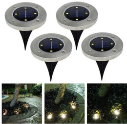 Wholesale outdoor solar lights stairs - 4 led Outdoor Disk Lights Solar Disk Lights Solar Powered Outdoor Portable Lanterns Hiking camping Garden Stair Lights KKA4494