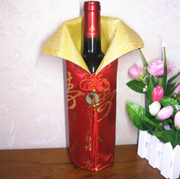 Wholesale Silk Chinese Wine Bottle Bags - Chinese Handmade Silk Wine Bottle Cover With Chinese Knot New Year Christmas Table Decoration Bottle Cover Bags SN1130