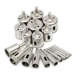 Wholesale Tools For Cutting Glass - Freeshipping 20Pcs lot 3-40mm Diamond Coated Hole Saw Drill Bits Tool for Ceramic Porcelain Glass Marble Cutting Glass Marble Set