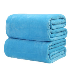 Wholesale Wholesale Twin Beds - Home textile blanket solid color super warm soft Flannel blankets throw on sofa bed  travel plaids bedspreads sheets 8size P20