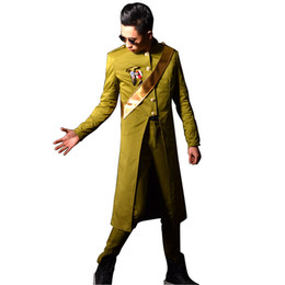 Wholesale custom trench coats - Wholesale- Custom Made Nighclub Singer DJ Stage Show Costumes Army Style Male Fashion Slim Fit Long Trench Coat Men Windbreaker Jacket