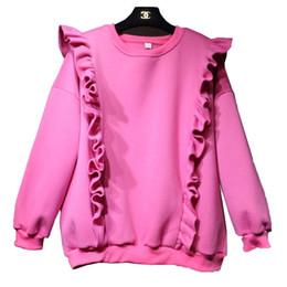 Wholesale Girls Batwing Tops - Spring Autumn Winter Thicken Batwing Sleeve Ruffles Hoodies Girls Preppy Casual Loose Hoodies Top