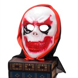 Wholesale Clown Noses - Scary Clown Latex Mask Big Mouth Red Hair Nose Cosplay Full Face Horror Masquerade Adult Ghost Party Mask for Halloween Props