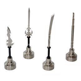GR2 Titanium Nail 14mm 18mm Titanium Carb Cap Tool Domeless herramientas de talla de cera con diferentes dabbers (curvo, cuchillo, espada dabber) desde fabricantes