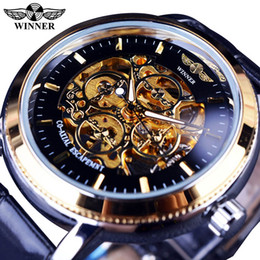 Скелет победителя случая черный онлайн-Winner 4 Ring Designer Transparent Case Back Black Golden Skeleton Mens Watches Top Brand Mechanical Watch Men Wristwatch