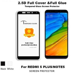 Wholesale xiaomi red mi - Full Glue Full Cover Tempered Glass For Xiaomi Redmi 5 Plus Redmi Note 5 Pro 5A 4X Y1 Note 5 Prime Note 4 4X 9H Silk Print Screen Protector