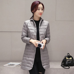 Wholesale Light Down Jacket Women S - Wholesale- Spring Autumn Basic Jackets Cotton Padded Fashion Ultra Light Women Parka