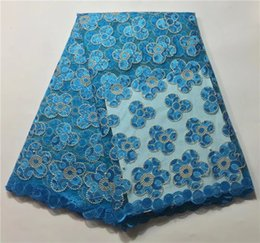 Wholesale Wholesale Net Fabrics For Women - royal blue flower pattern african tulle lace french net fabric with beads for nigerian women dresses (5yard   lot)