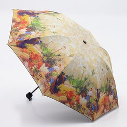 abstract rain painting Promo Codes - oil painting europe scenery pattern rain  sun umbrella,3 Folding Thickening Anti UV fashion abstract art design women umbrella