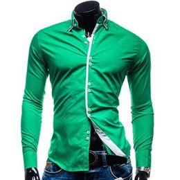 974f7e1da6 Camisa de los hombres de lujo de la marca masculina de manga larga  camisetas Casual sólido de múltiples colores de color de golpe Slim Fit  camisas de vestir ...