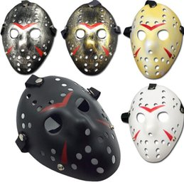 Wholesale Hockey Masks - 500pcs Archaistic Jason Mask Full Face Antique Killer Mask Jason vs Friday The 13th Prop Horror Hockey Halloween Costume Cosplay Mask