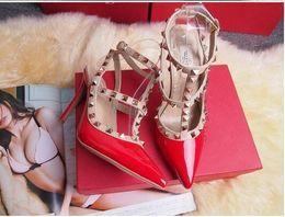 Wholesale Red Valentines Day Dress - New 2018 Rockstud High heel Criss Cross High heel Wedding Party Shoes for women Brand Valentine Summer Sandals