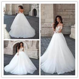 Cascades A-Line vestidos de novia de tul con apliques de manga larga sin espalda nupcial tallas grandes vestidos de novia Amelia Sposa desde fabricantes