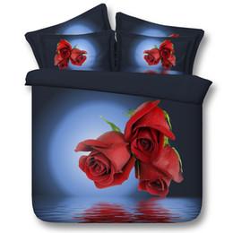 3d copriletti di rose online-3D 3 rose copripiumino set di biancheria da letto queen copriletti floreali per le vacanze della trapunta delle coperture Lenzuola federe fiori doppia completa re regina