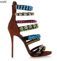 Strass de sandálias strappy on-line-Studded Rhinestone Shells Gladiator Strappy Sandals Rome Style High Heels Women Shoes Sexy Stiletto Heels Women Pumps